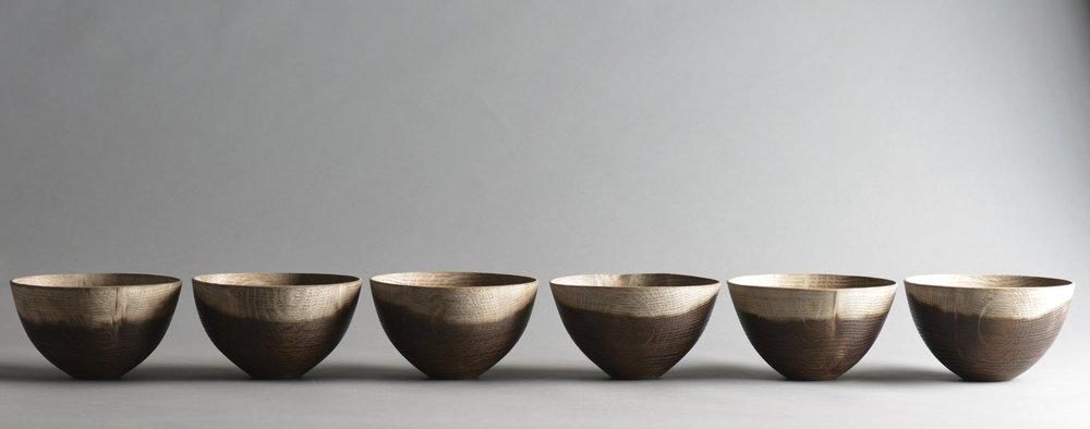 Liam Flynn, Suite of Oak Bowls, Fumed Oak, 2014