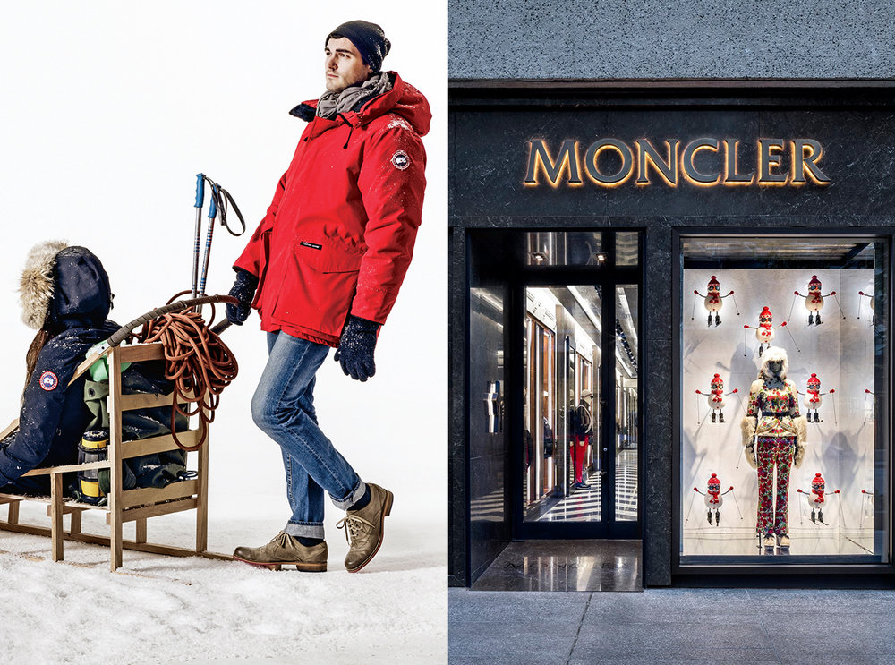 There's a clear difference in marketing strategy in Canada Goose and Moncler's branding