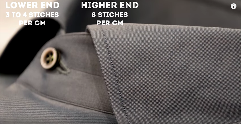 Stitch count should be directly correlated with shirt price. GENTLEMAN'S GAZETTE / YOUTUBE