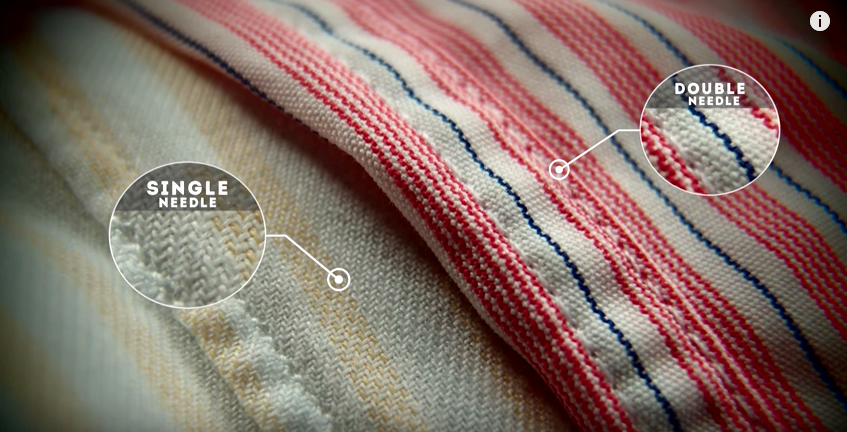 Single needle stitching produces a clean, lasting finish on your seams. GENTLEMAN'S GAZETTE / YOUTUBE