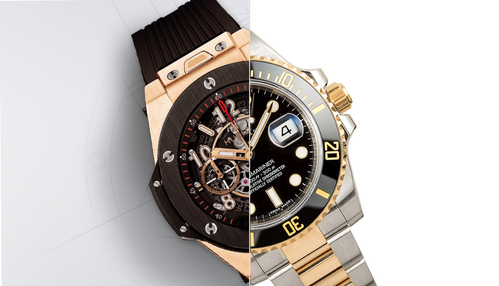 A Hublot Big Bang and a Rolex Submariner