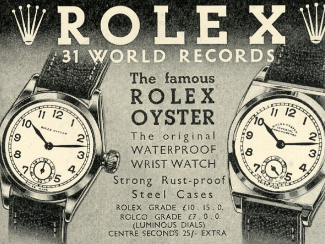 One of Rolex's early advertisements, showcasing the waterproof innovation. Rolex is the original innovator of waterproof technology as well as automatic date change.