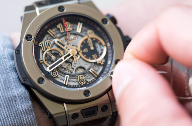 A highly technical Hublot with visible movements.