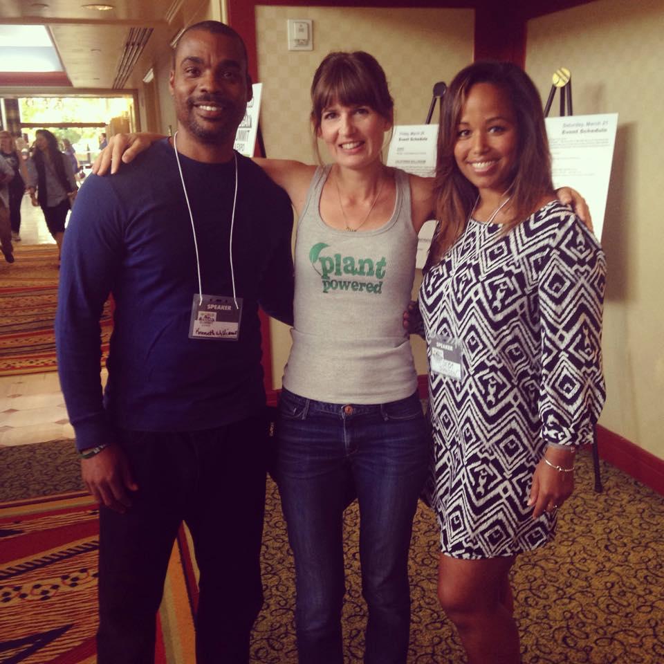 Lorelei with bodybuilding champion Kenneth G. Williams and Olympic skier Seba Johnson, both vegan (Seba has been vegan from the womb)!
