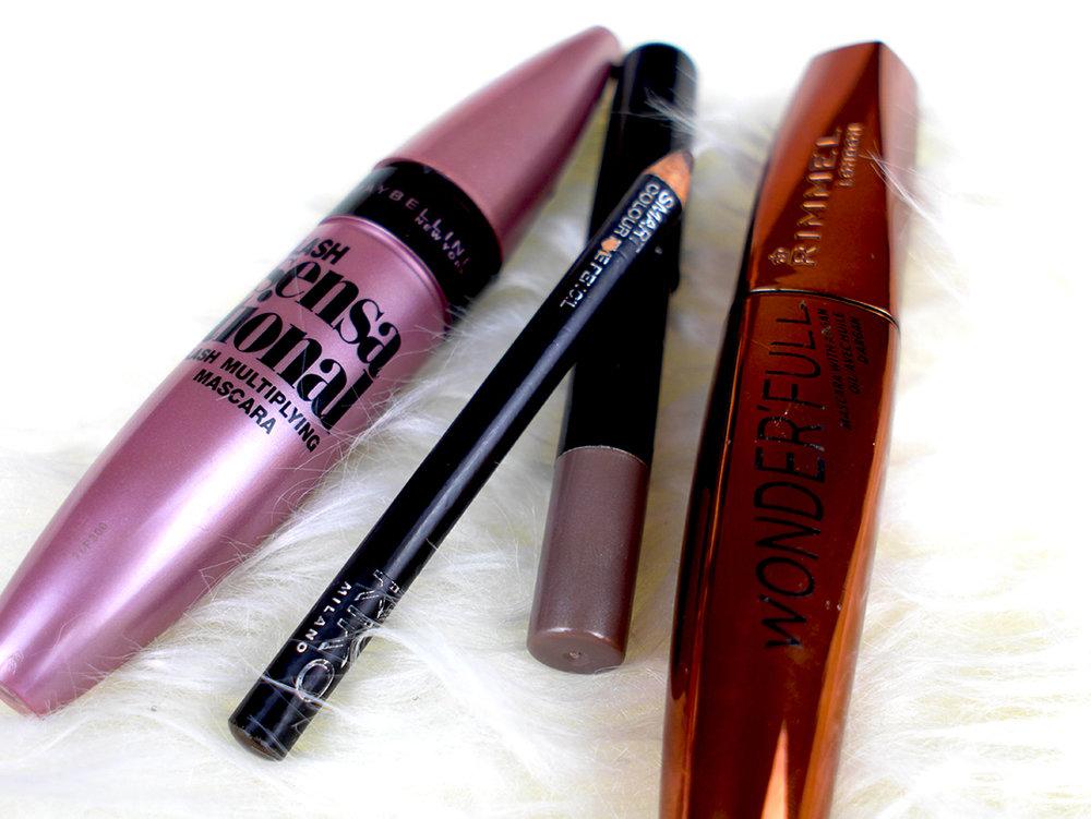 Maybelline Lash Sensational Mascara, Kiko Eyeliner, De Bruyere Jumbo Eye Pencil, and Rimmel Wonder'Full Mascara