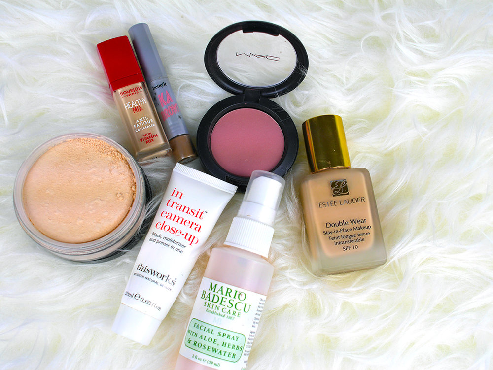 Collection Sheer Loose Powder, Bourjois Healthy Mix Concealer, Benefit KaBrow, MAC Blushbaby, This Works In Transit Camera Close Up Primer, Mario Badescu Facial Spray with Aloe, Herbs, & Rosewater, Estee Lauder Double Wear Foundation