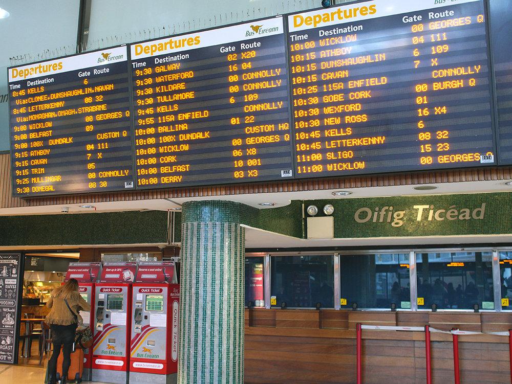 Bus Éireann departure boards
