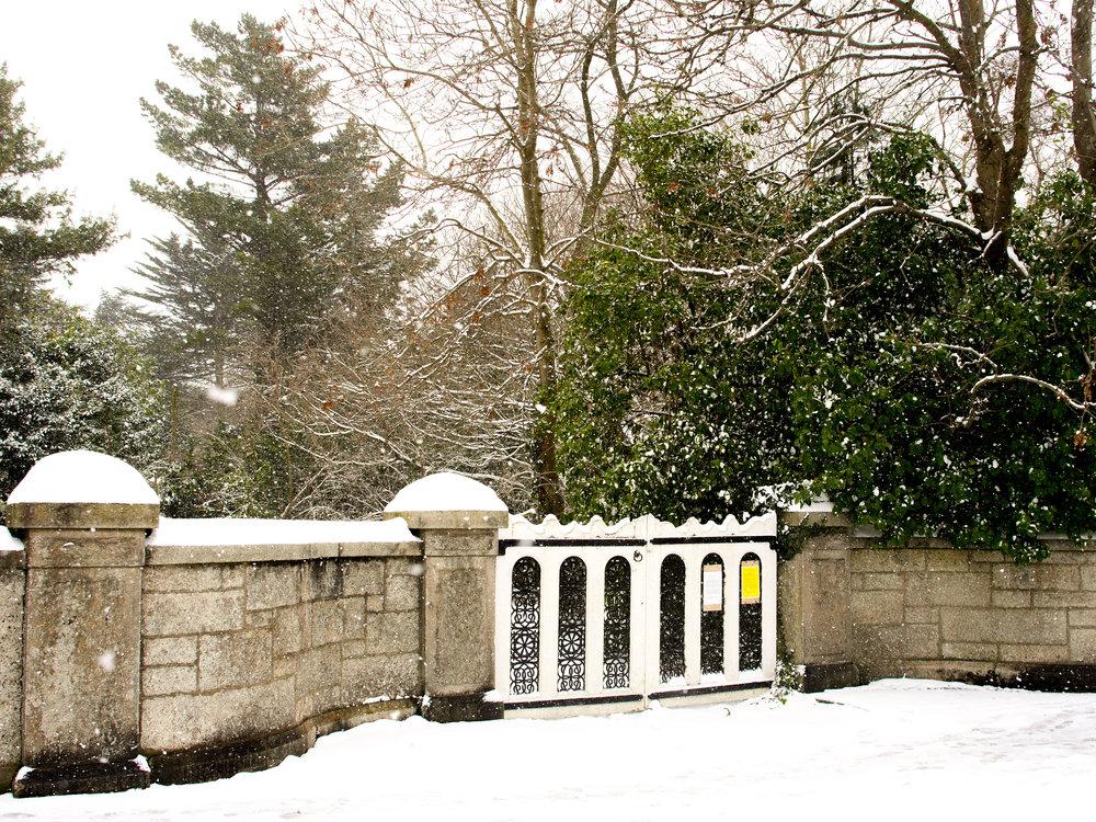 snow covered gate in Dublin, Ireland
