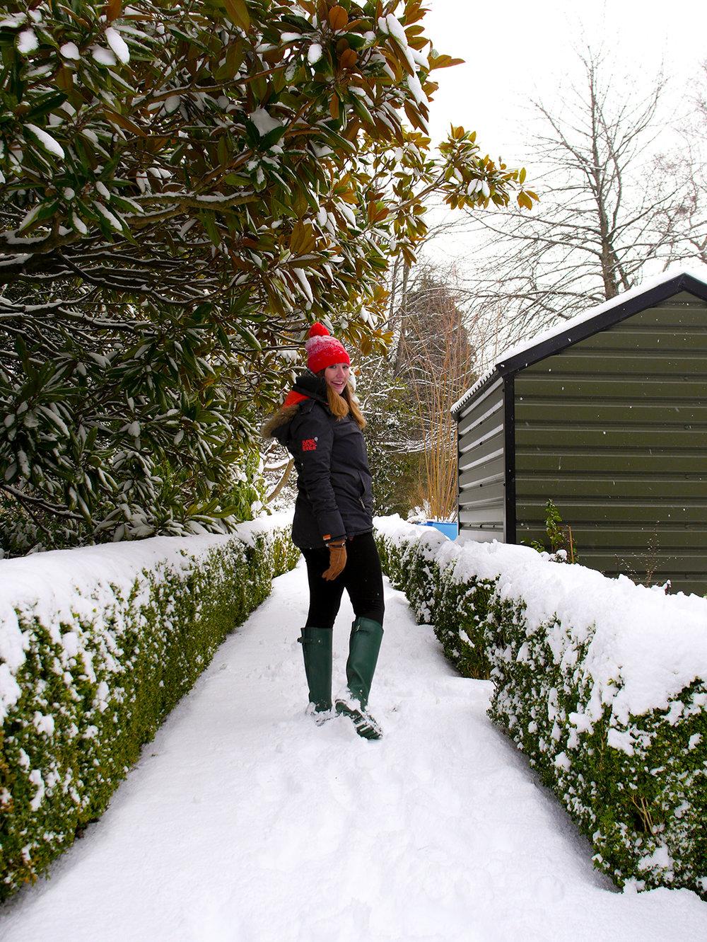 Candid Alexandra in the snow in Dublin, Ireland