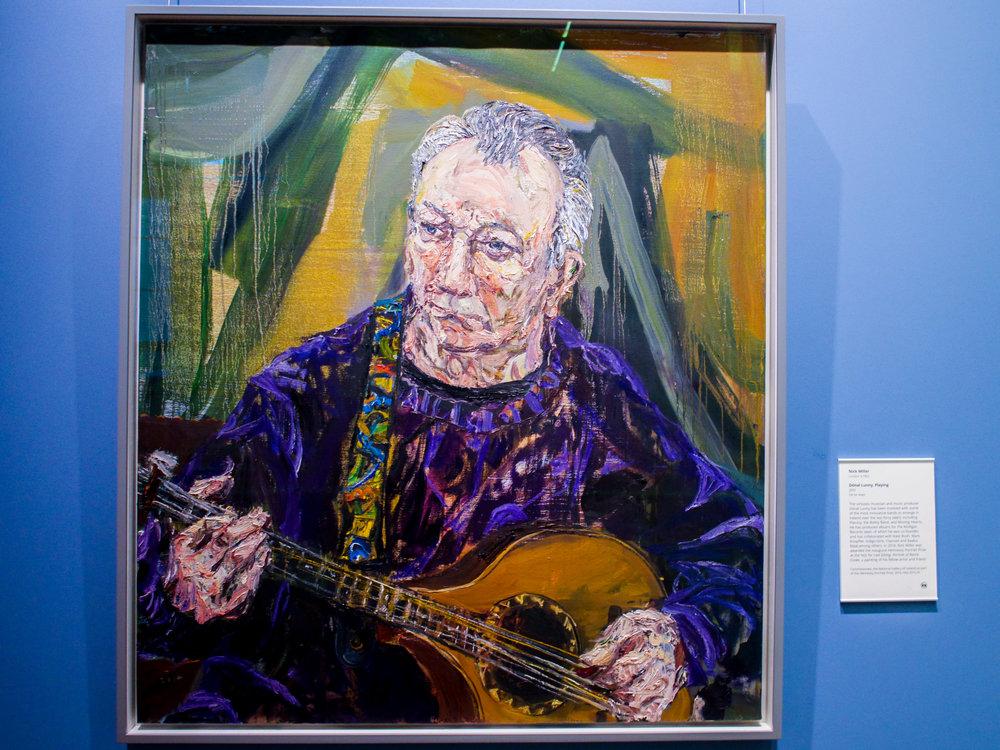 Nick Miller (b.1962)  Dónal Lunny, Playing,  2015 Oil on linen, 102 x 91cm