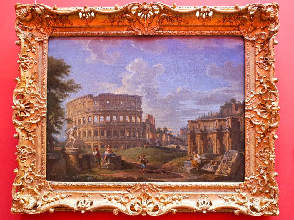 Giovanni Paolo Panini, Italian, c.1692-1765. Landscape with the Colosseum and Arch of Constantine, Rome. Medium: Oil on canvas. Dimensions: 72.5 x 98 cm