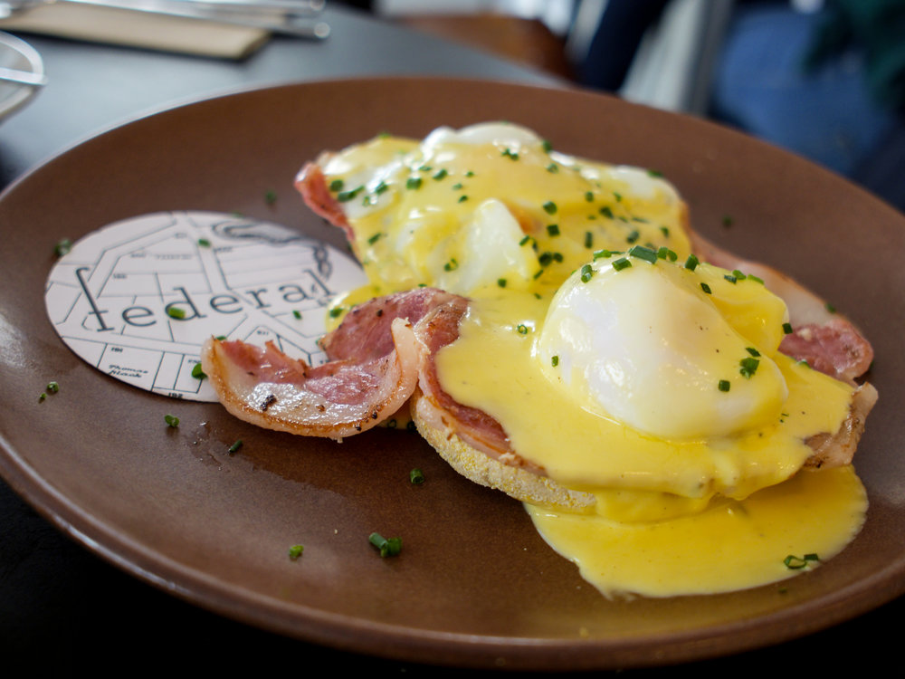 Eggs Benedict at Federal Cafe in Madrid, Spain