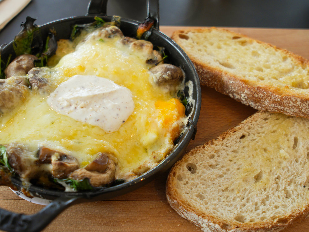 the eggs (free-range, oven baked, with toast) with the mushroom at Federal Cafe in Madrid, Spain