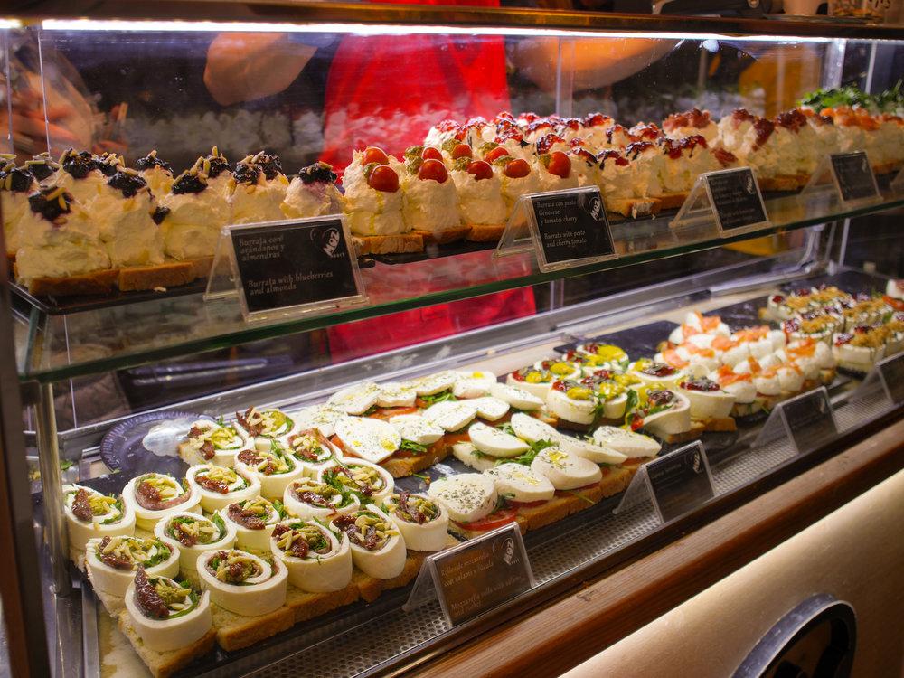 Mozzarella for sale in Mercado de San Miguel in Madrid, Spain