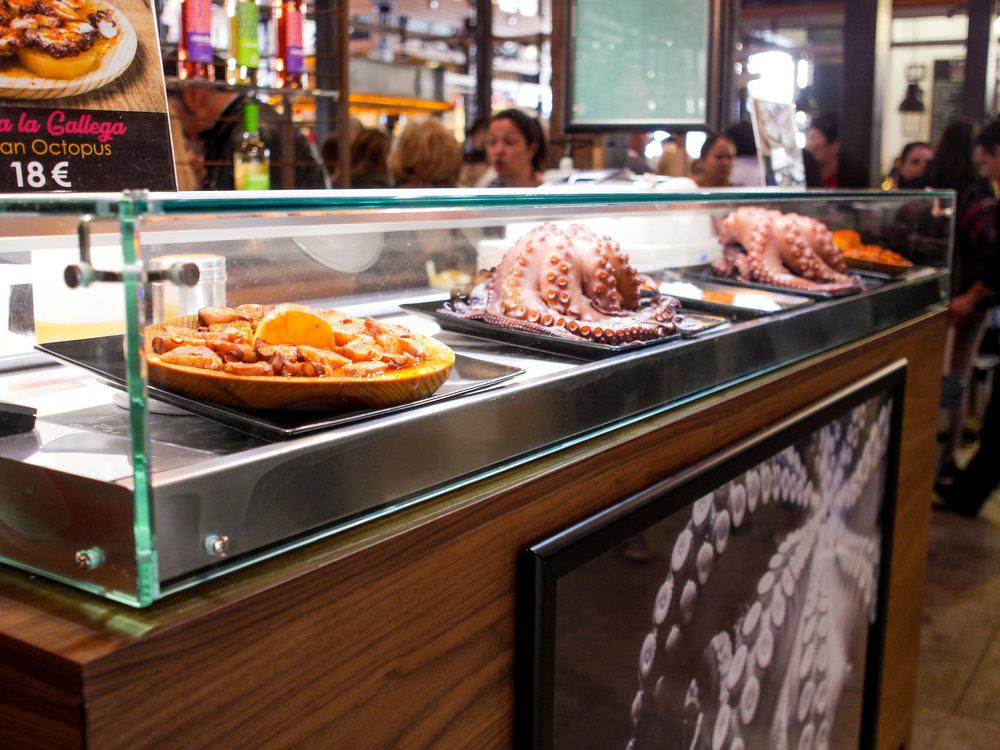 Octopus for sale in  Mercado de San Miguel in Madrid, Spain