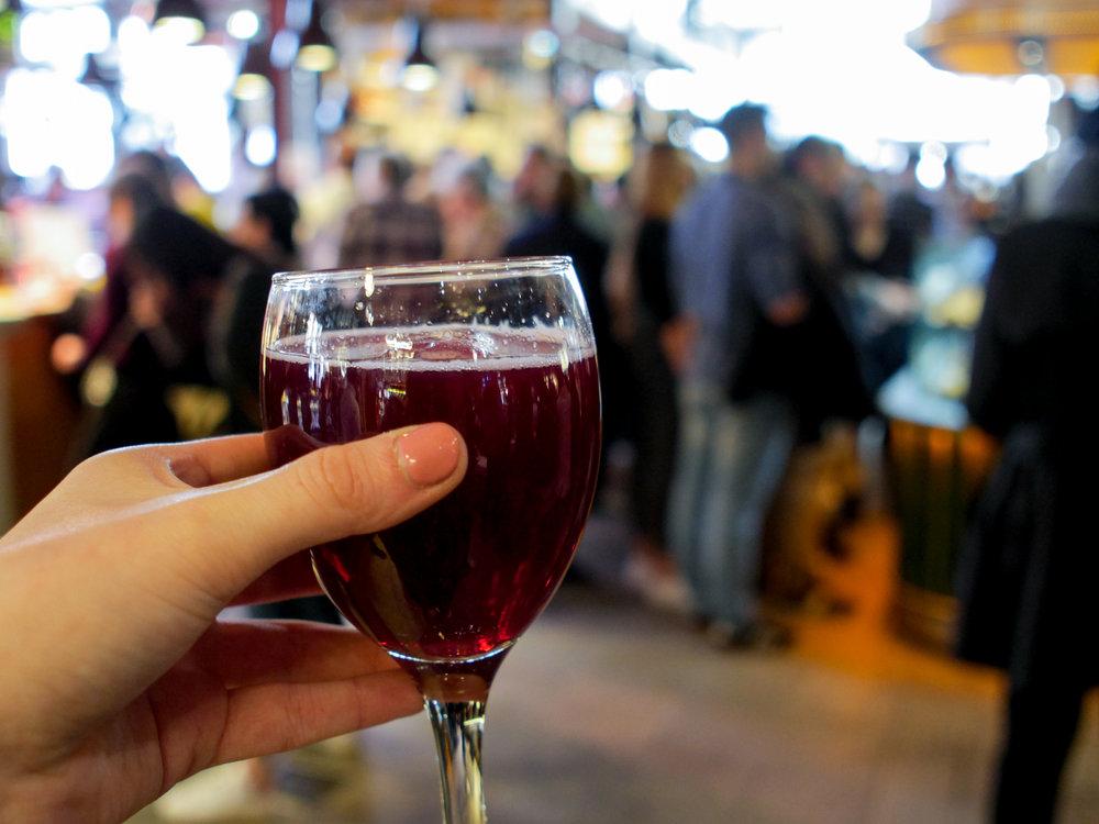 Summer wine in Mercado de San Miguel in Madrid, Spain