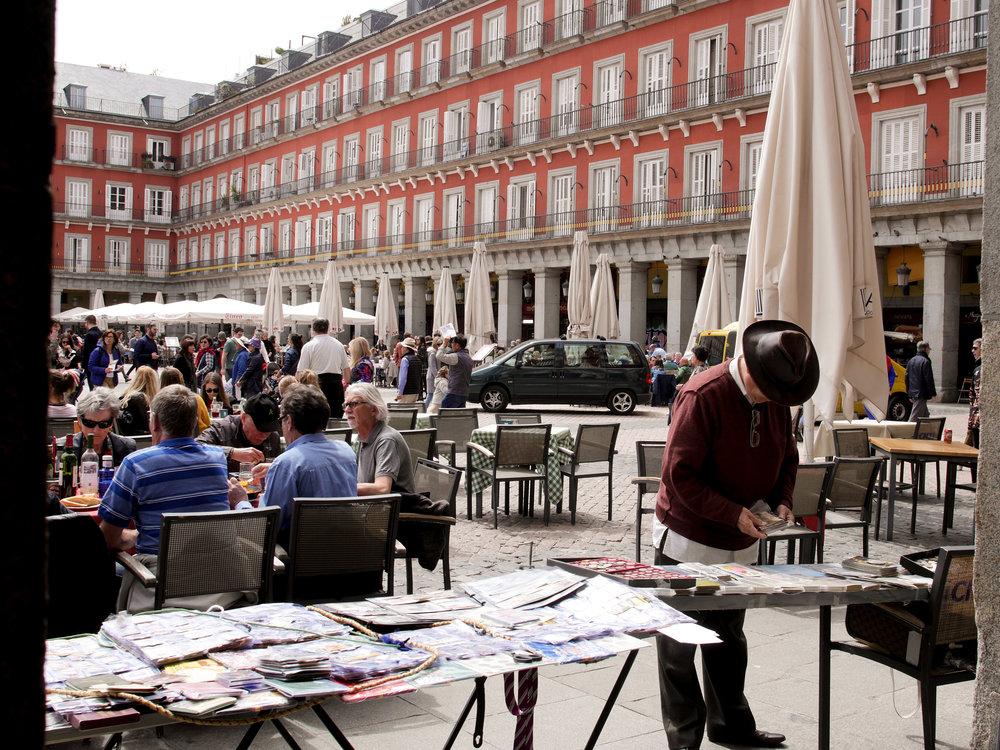A street merchant at Plaza Mayor in Madrid, Spain