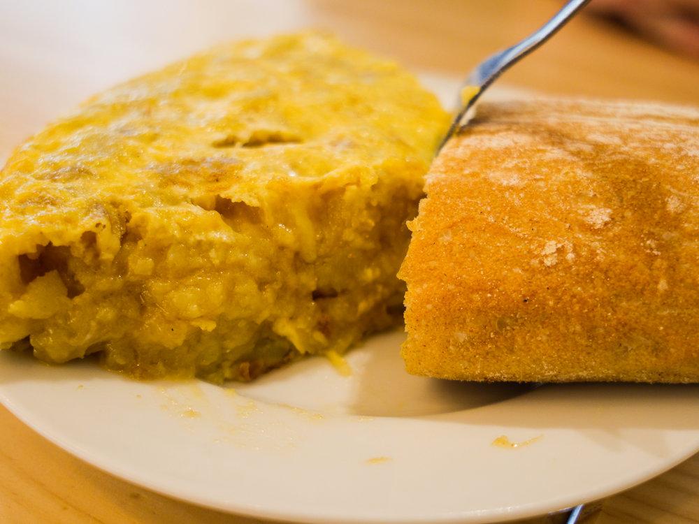 Authentic Spanish tortilla/omelet at Cafeteria Restaurante Casa Dani in Madrid, Spain
