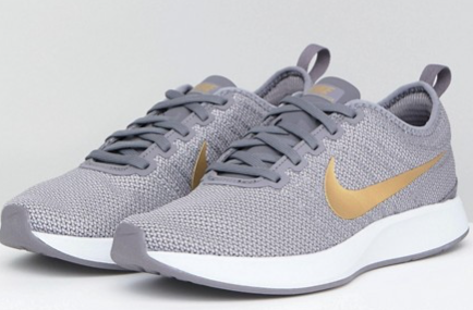 Nike Dualtone Racer Trainers In Grey And Gold.png