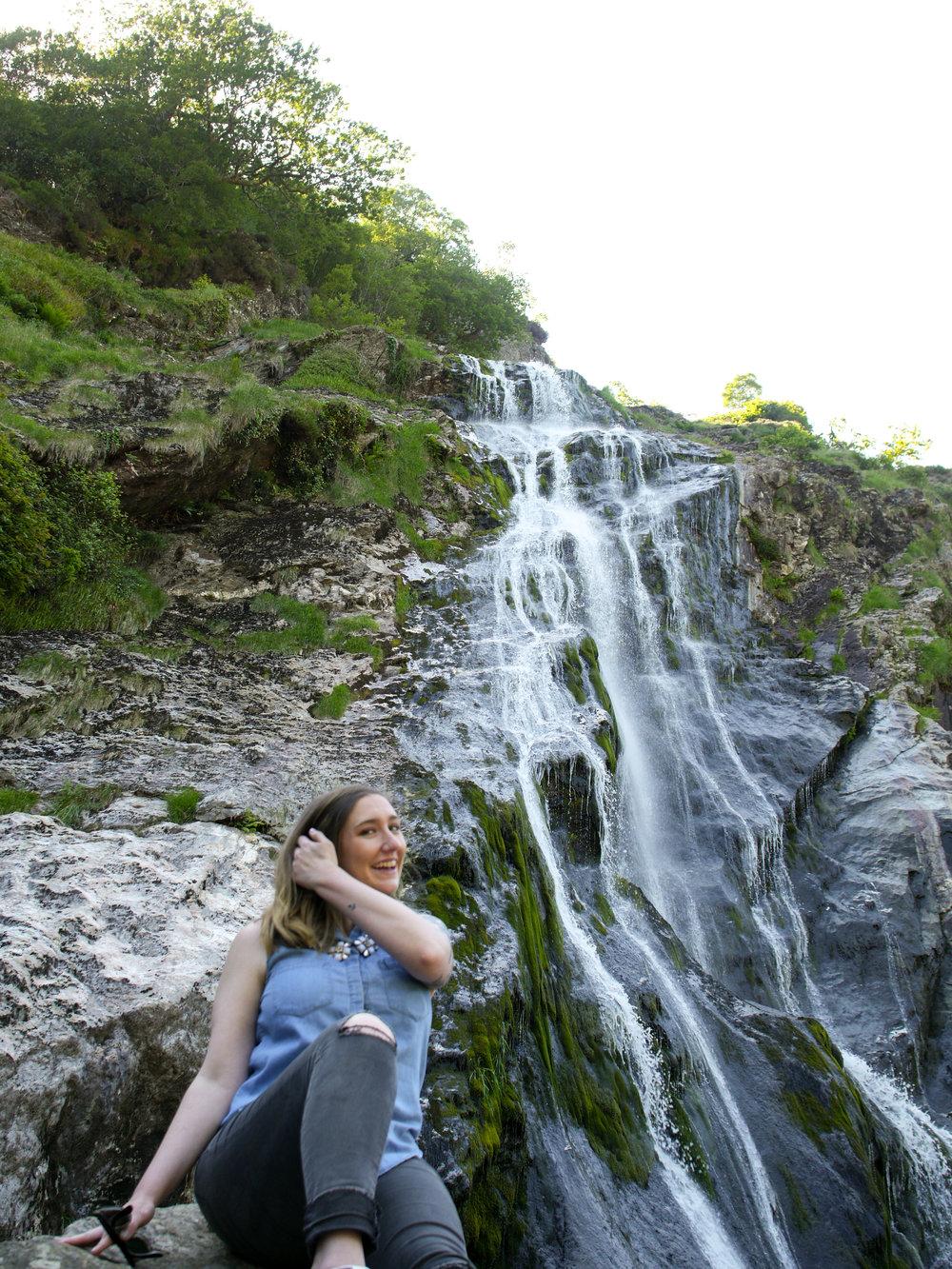 Candid Alexandra at Powercourt Waterfall in Wicklow, Ireland
