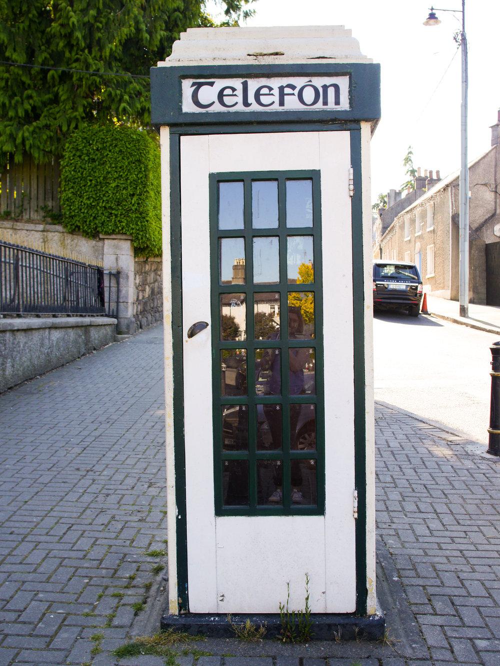 Irish Telefón Box in Enniskerry Village, Wicklow, Ireland