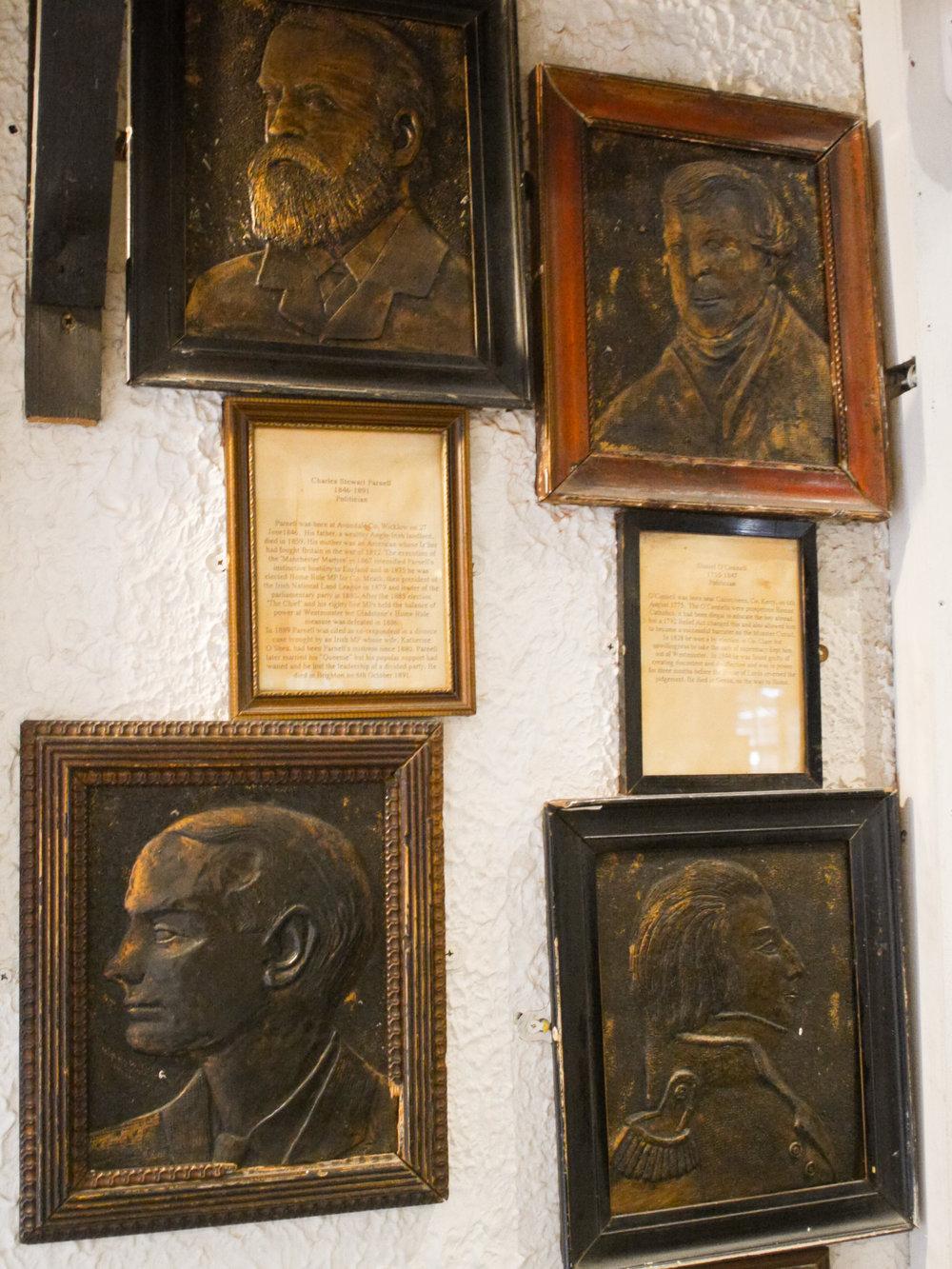 Plaques of Irish Revolutionaries at Johnnie Fox's Pub