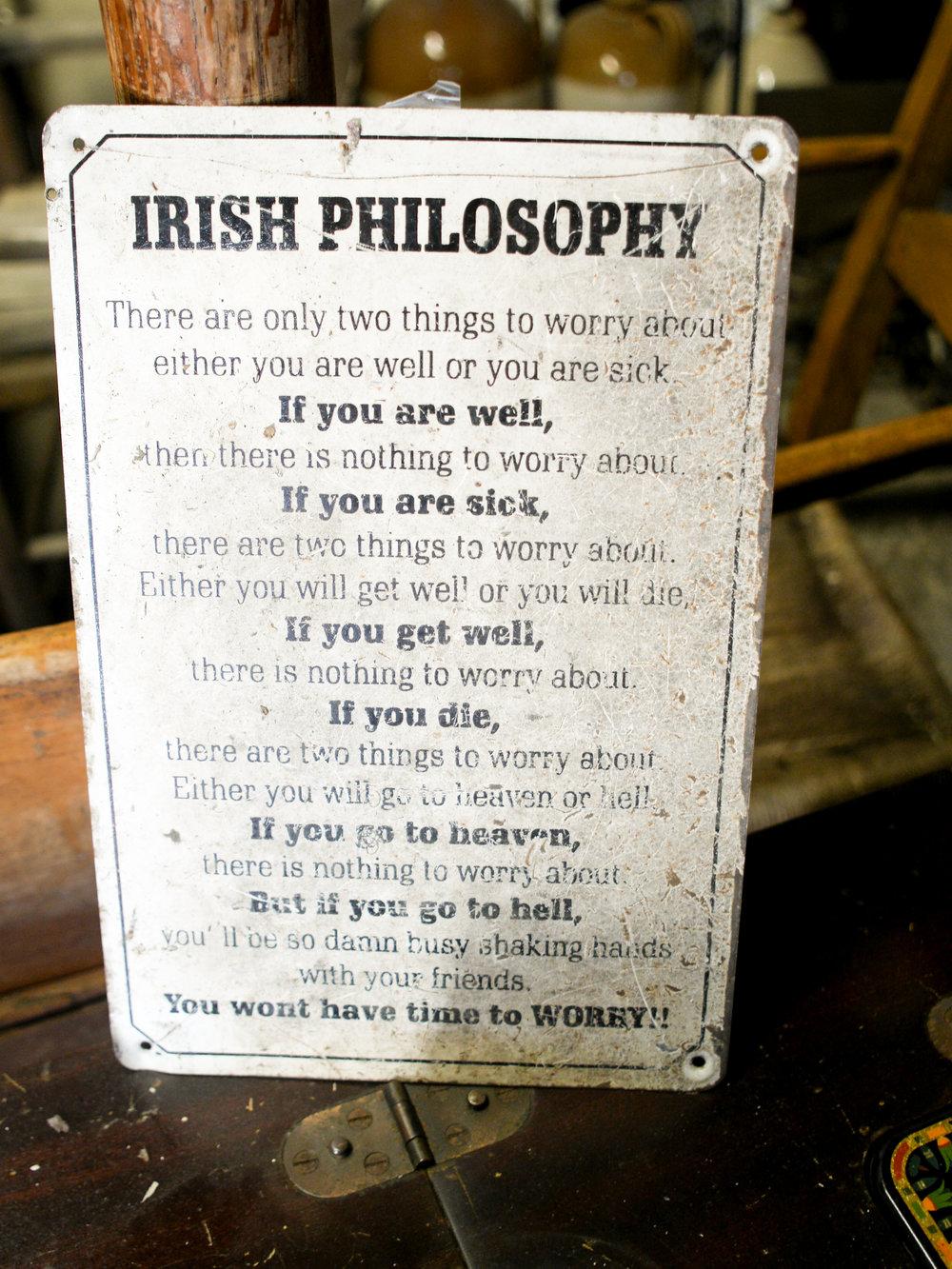 Irish philosophy at Johnnie Fox's Museum at Johnnie Fox's Pub