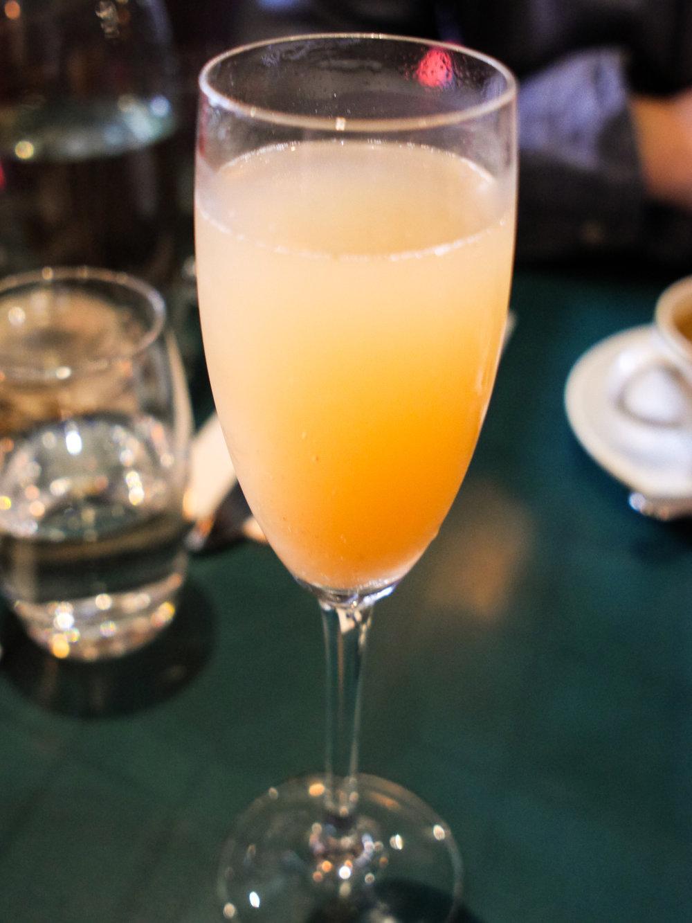 Peach bellini at San Lorenzo's in Dublin, Ireland