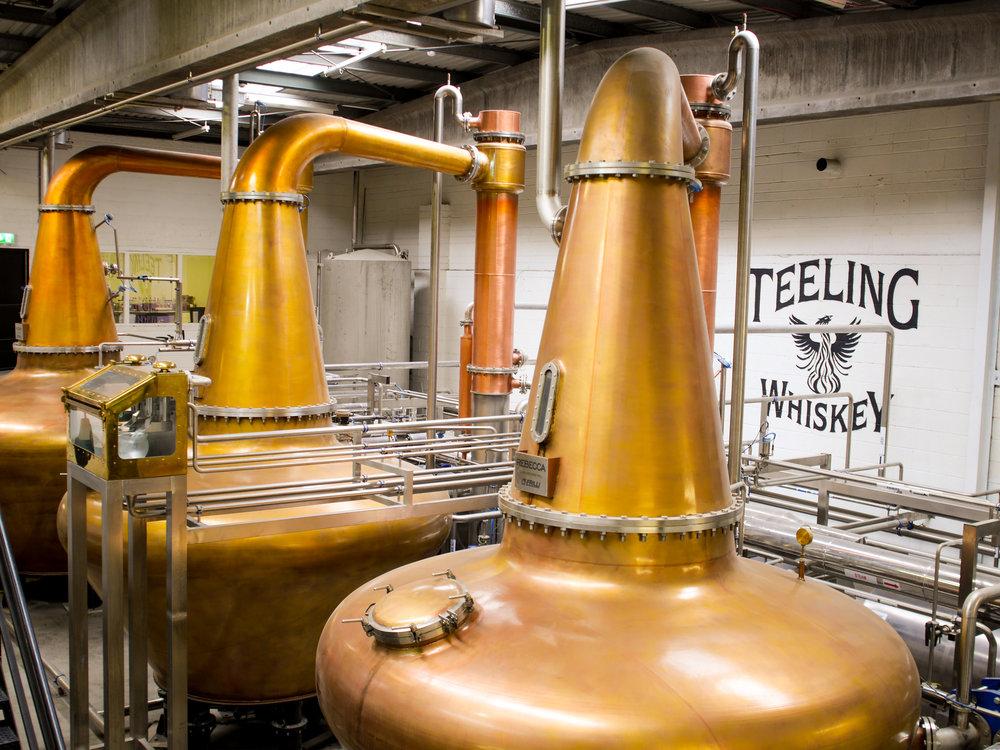 Whiskey pot stills Whiskey fermentation at Teeling Distillery in Dublin, Ireland
