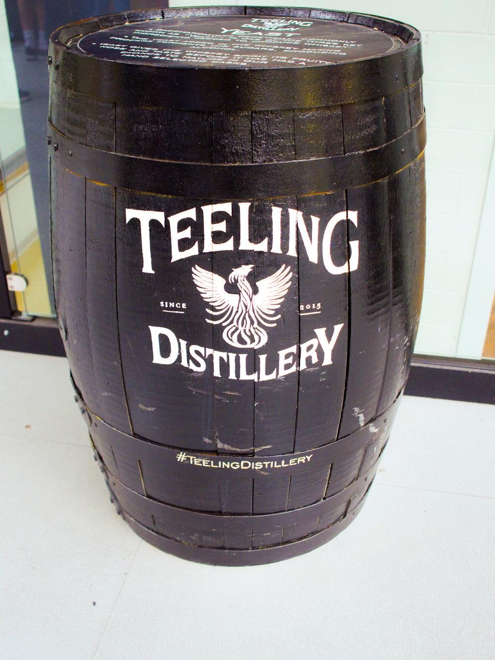 Whiskey barrel at Teeling Distillery in Dublin, Ireland