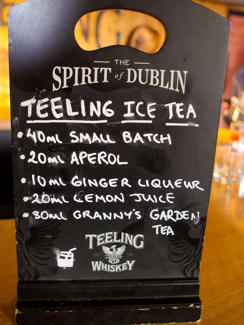 Teeling Ice Tea recipe at Teeling Distillery in Dublin, Ireland