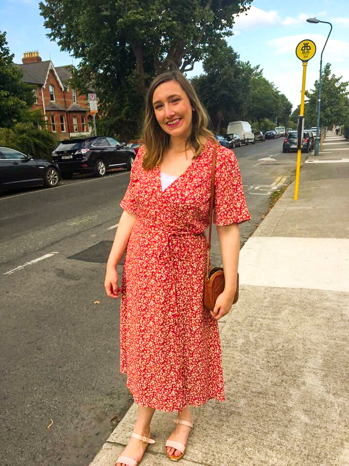 Orange Floral Wrap Front Midi Dress from New Look on Candid Alexandra