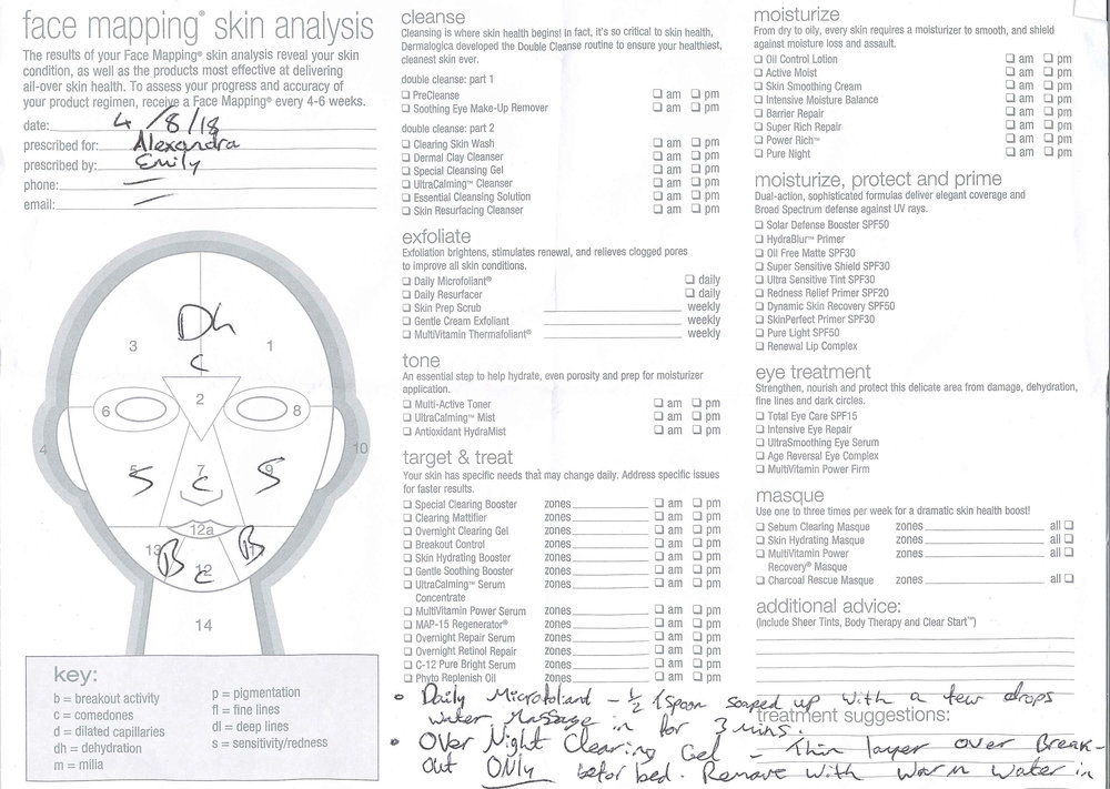Face Mapping Skin Analysis from The Buff Day Spa in Dublin, Ireland