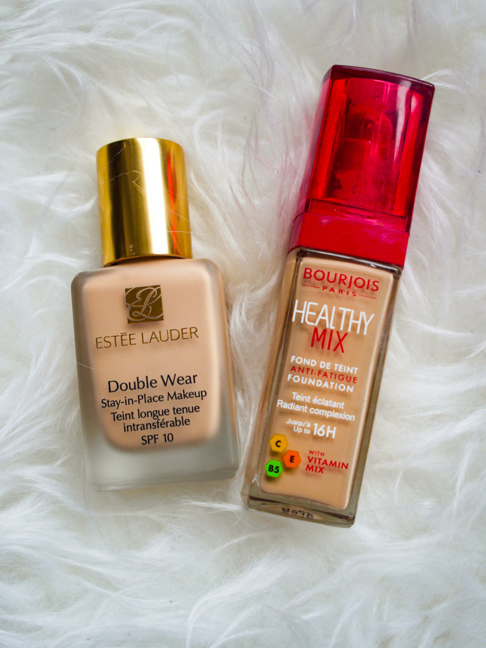 Estee Lauder Double Wear Foundation with Bourjois Paris Healthy Mix Foundation