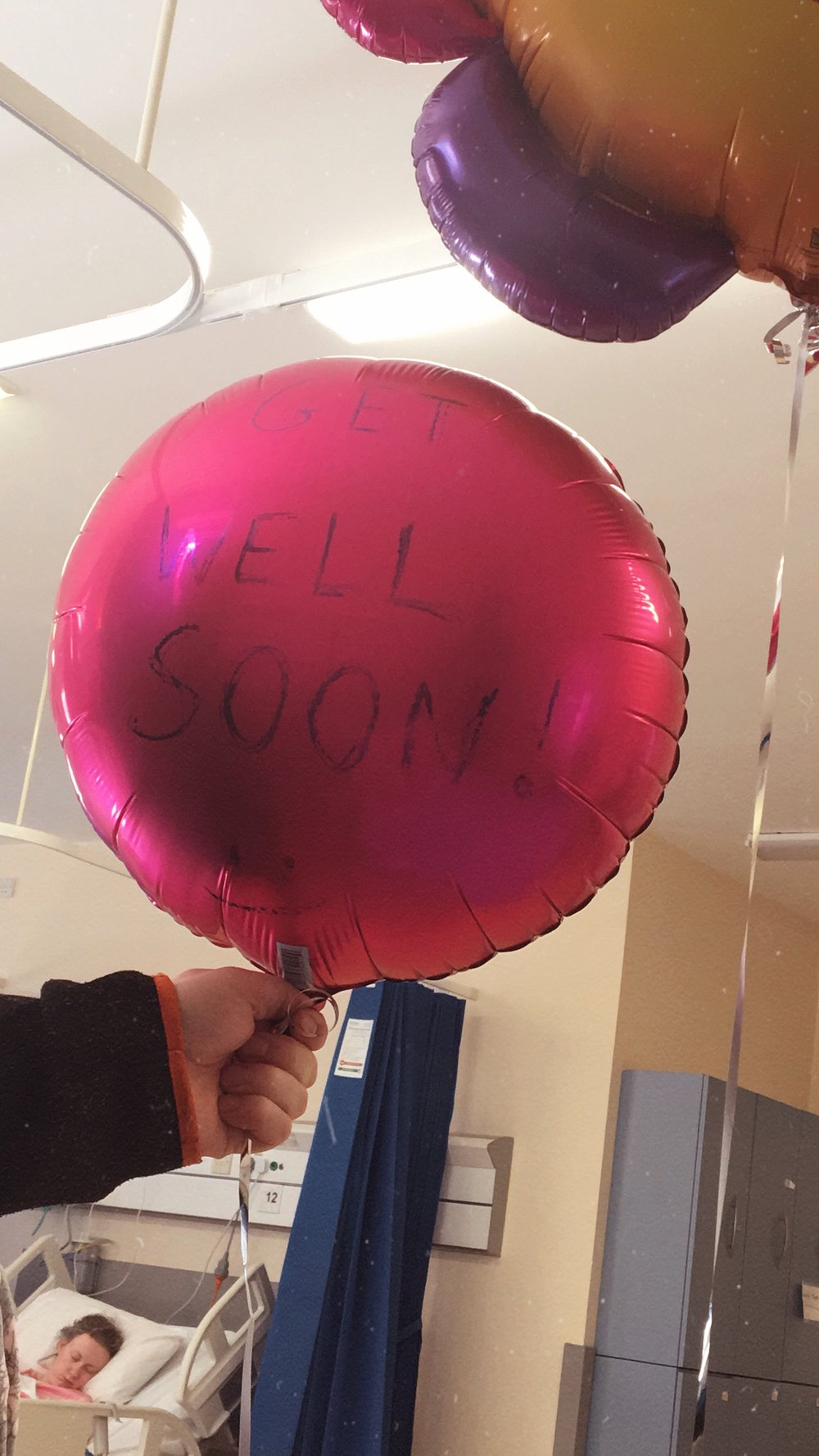 A hospital with no Get Well Soon balloons called for some improvisation!