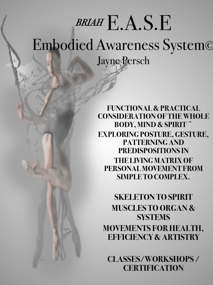 BRIAH E.A.S.E Embodied Awareness System - Embodied Awareness Classes - at Kinesis Dance in Boulder- M 10:30, W 11am, Saturday 1:30In Denver - At Cleo Parker Robinson Fridays at 4 pmWorkshop - Stardust & Sacred Geometry ~ the Body in Movement -February 24th 2019Rediscover & Renew your wonder in bodies!See, Feel, Follow the Wisdom of your bodyWorkshops are for movers, teachers, trainers, therapists and body-mind enthusiasts. Focus on new awareness, connections, body, for and movement.Yes, muscles to organs, to memories, psychological response, emotions- follow anatomy trains and meridians, discover your movement, prevent injuries, supportive and disabling patterns, rehabilitate your body, mind and spirit!