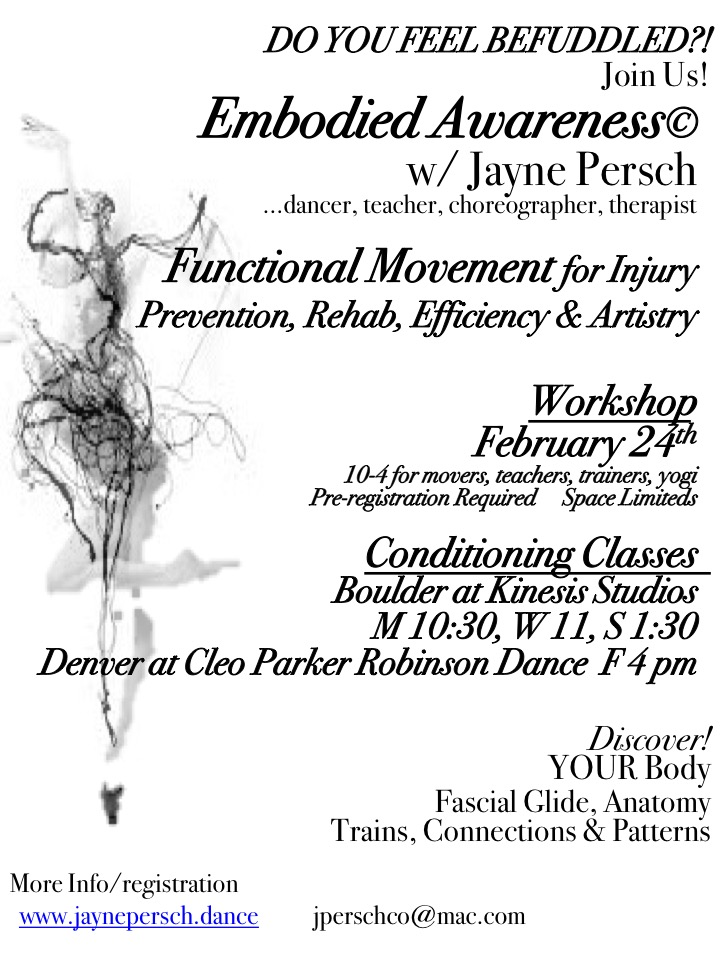 Embodied AwarenessFunctional Anatomy - Embodied Awareness is a copyright accumulation of a life time of work as a dancer, therapist, psychologist, mentor and Steiner - combining the latest research and information for movement in our bodies, and ourselves - for physics, mental and emotional health.Did you know that every muscles in our bodies influences an organ, that is a part of our functional systems, or that emotions are housed throughout our bodies and that movement is a reflection of muscles, memories, patterns from DNA, pre-dispositions and trainings - More than anything - we are the MASTERS of our lives and our movement in and through life!With a Master in Dance, Dance in Education and Psychology, 50 years of work as a dancer, teacher, mentor and coach and a licensed physical/massage therapist since 1988 ~ I love to share my research and continual discoveries in movement, life, the best personal understanding for efficient and artistic functional movement and injury prevention.Join me in Conditioning Classes, Individual Private Sessions, Workshops for movers, teachers, trainers, yogis - add more to your personal understanding , gain a new perspective.Enjoy being!For more information- please contact me -