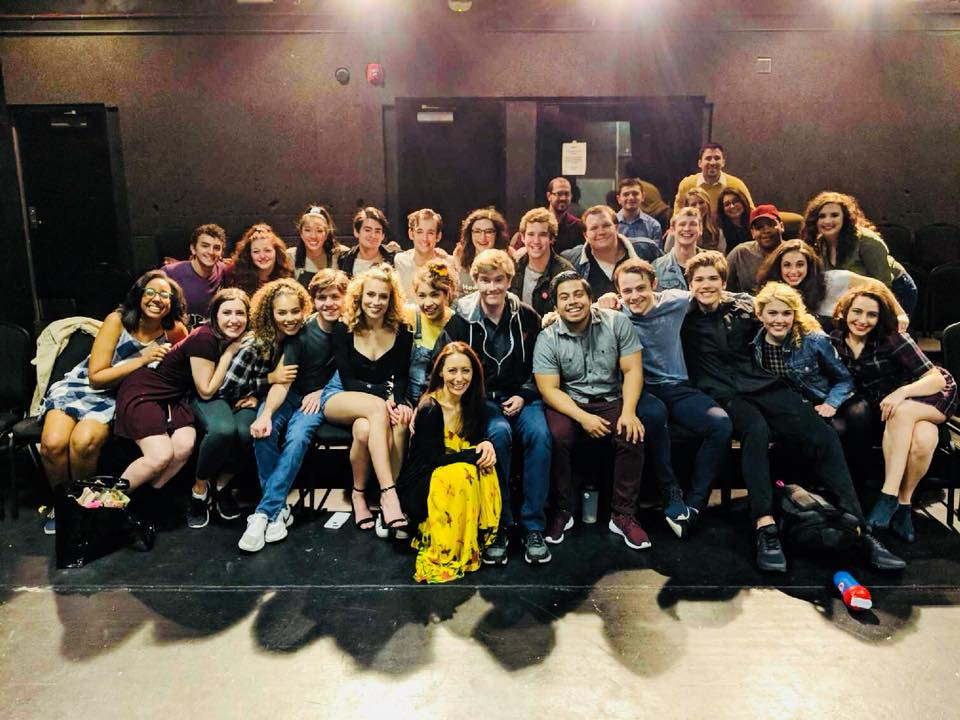 Laurence O'Keefe with the cast of Heathers/Rider University 2018