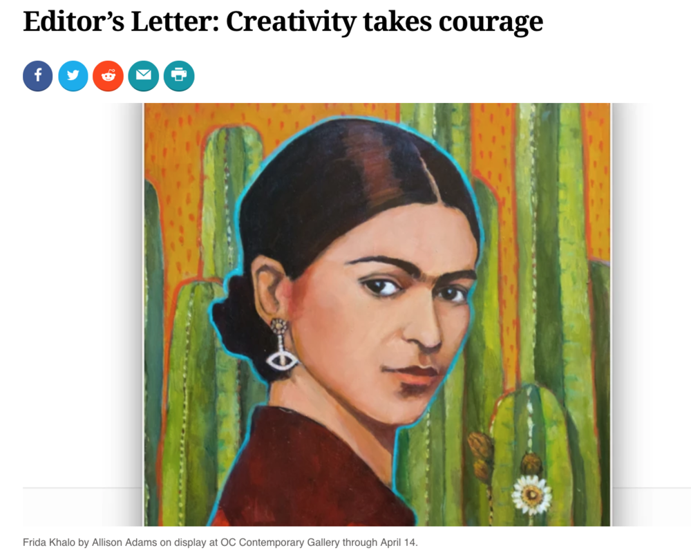 Coast Magazine Editor's Letter: Creativity takes courage   Written by Samantha Dunn