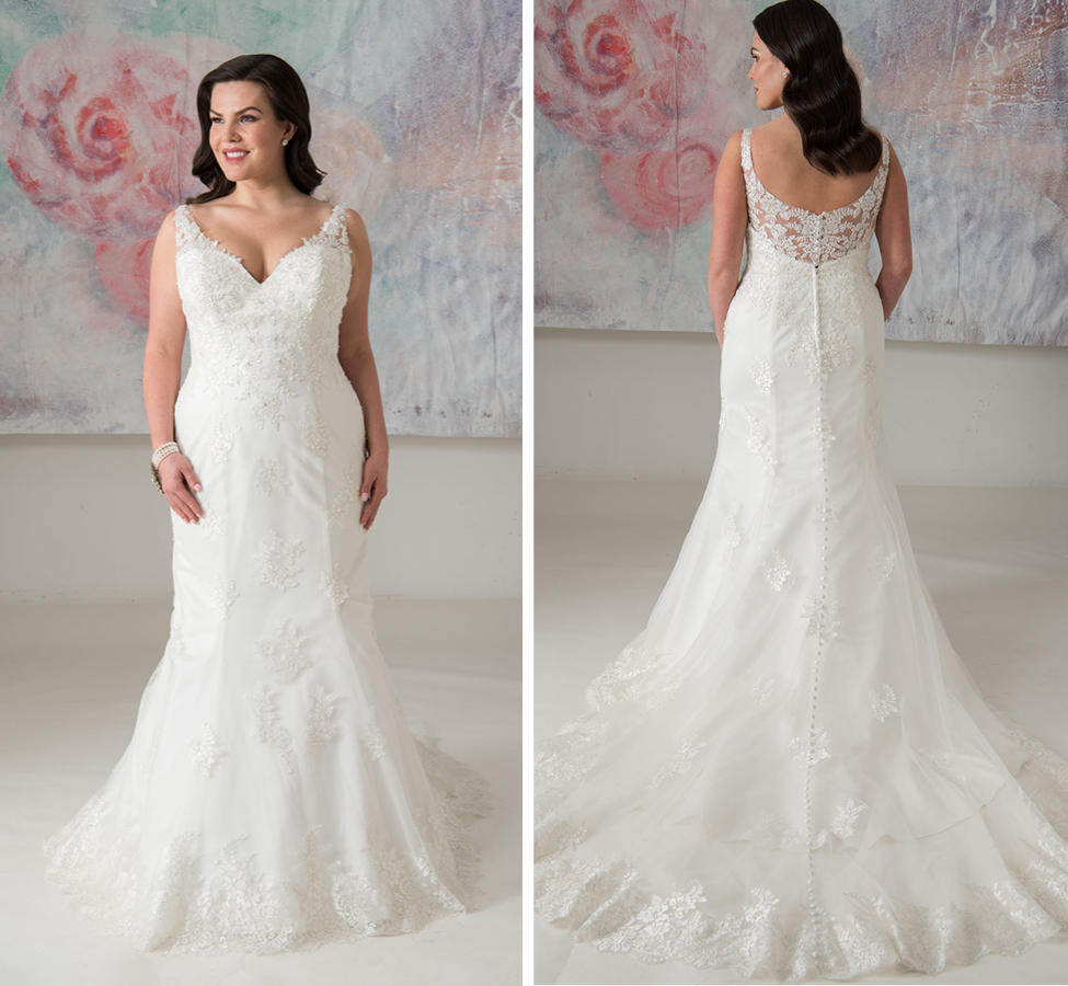 Super lightweight lace and tulle fit and flare gown, with illusion back and buttons to hem Ivory | Street Size: 14-16  NOW: $1189