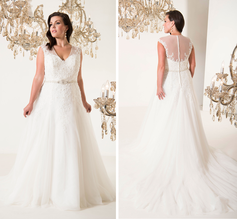 Lightweight lace and tulle A-line dress, with modest V-neck front, illusion back and beaded waist Ivory |  Street Size: 14-16  NOW: $1149