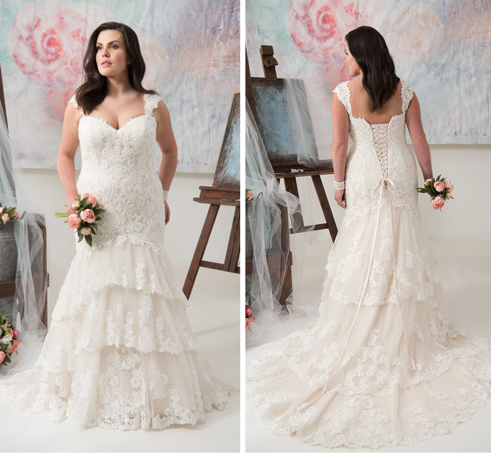 Rustic-inspired tiered lace fit and flare gown with clear sequins; Straps are removable Champagne | Street Size: 18-20  NOW: $1319