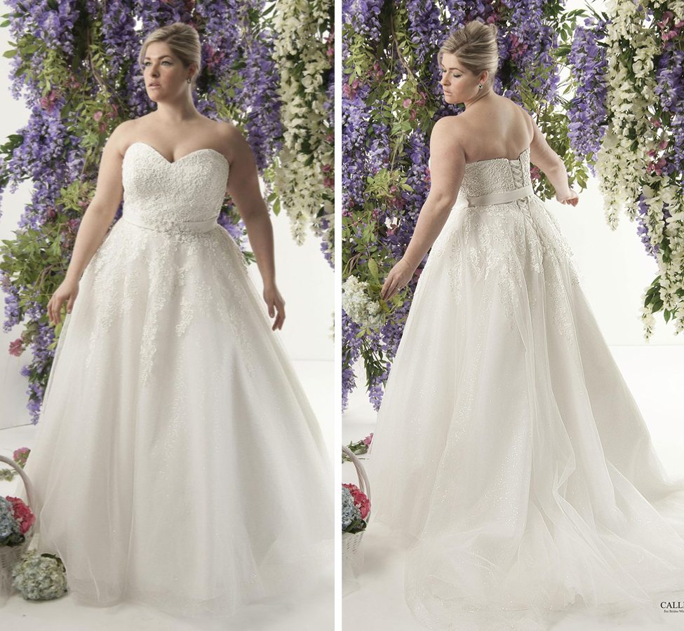 Strapless lace and tulle ballgown with gorgeous shimmer tulle skirt; Belt is attached Ivory | Street Size: 16-18  NOW: $1119