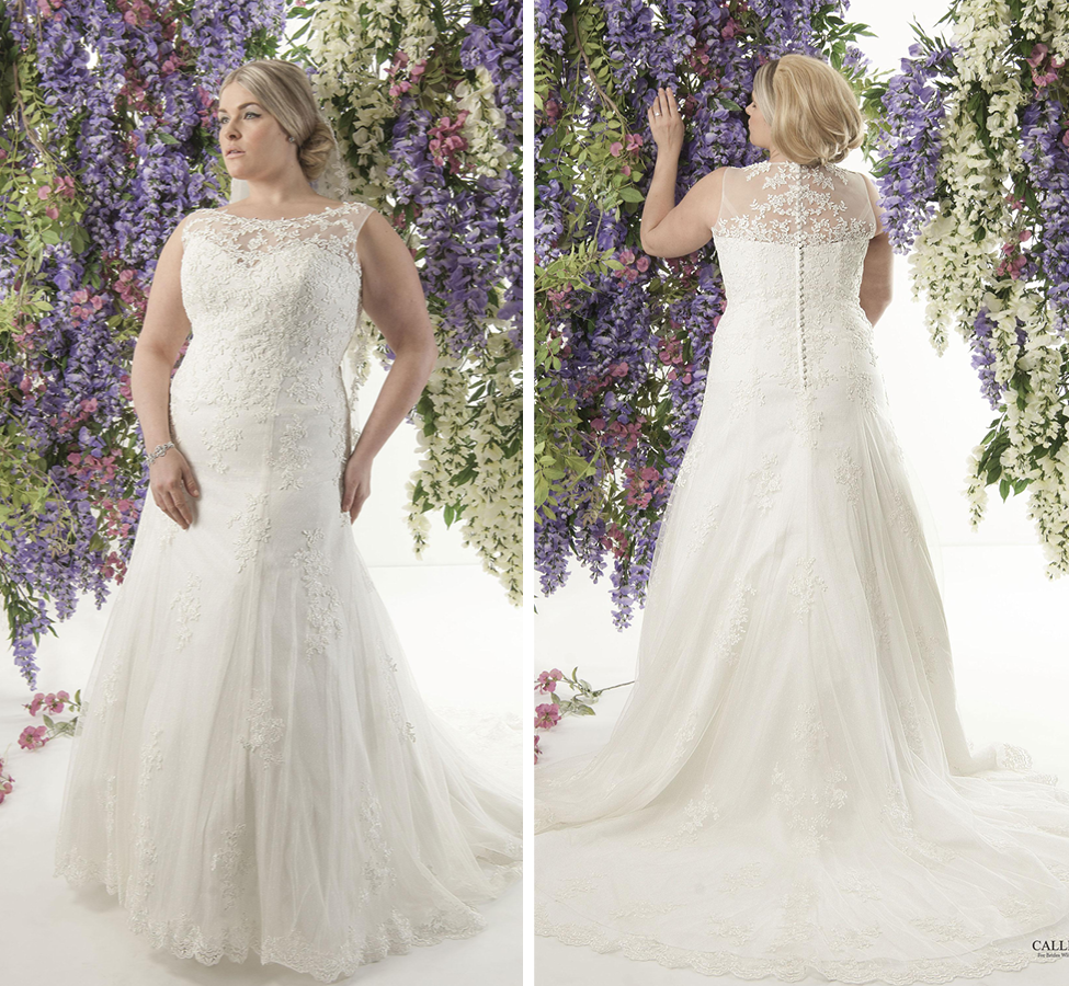 Corded lace and tulle fit and glare gown with an illusion bateau neckline; Lightweight with gorgeous chapel length train Ivory | Street Size: 18-20  NOW: $1109