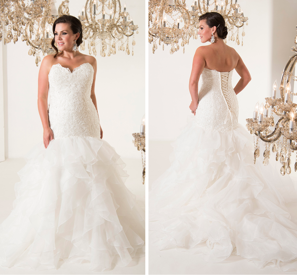 Beaded lace and organza fit and flare gown; Strapless with tiered ruffle skirt...hugs every curve perfectly White | Street Size: 16-18  NOW: $1140