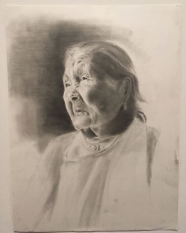 Por fin! This is my great great grandmother Ito. I started this portrait earlier this year in February and did not pick it back up until this week. There are still so much I would love to add and change but I am at a happy place with it which I think is the most satisfying part. Thank you @caroline_aubrey_ for last nights art gallery and giving me a deadline to finish this. It was terrifying and rewarding to have her on the wall. #portrait #drawings