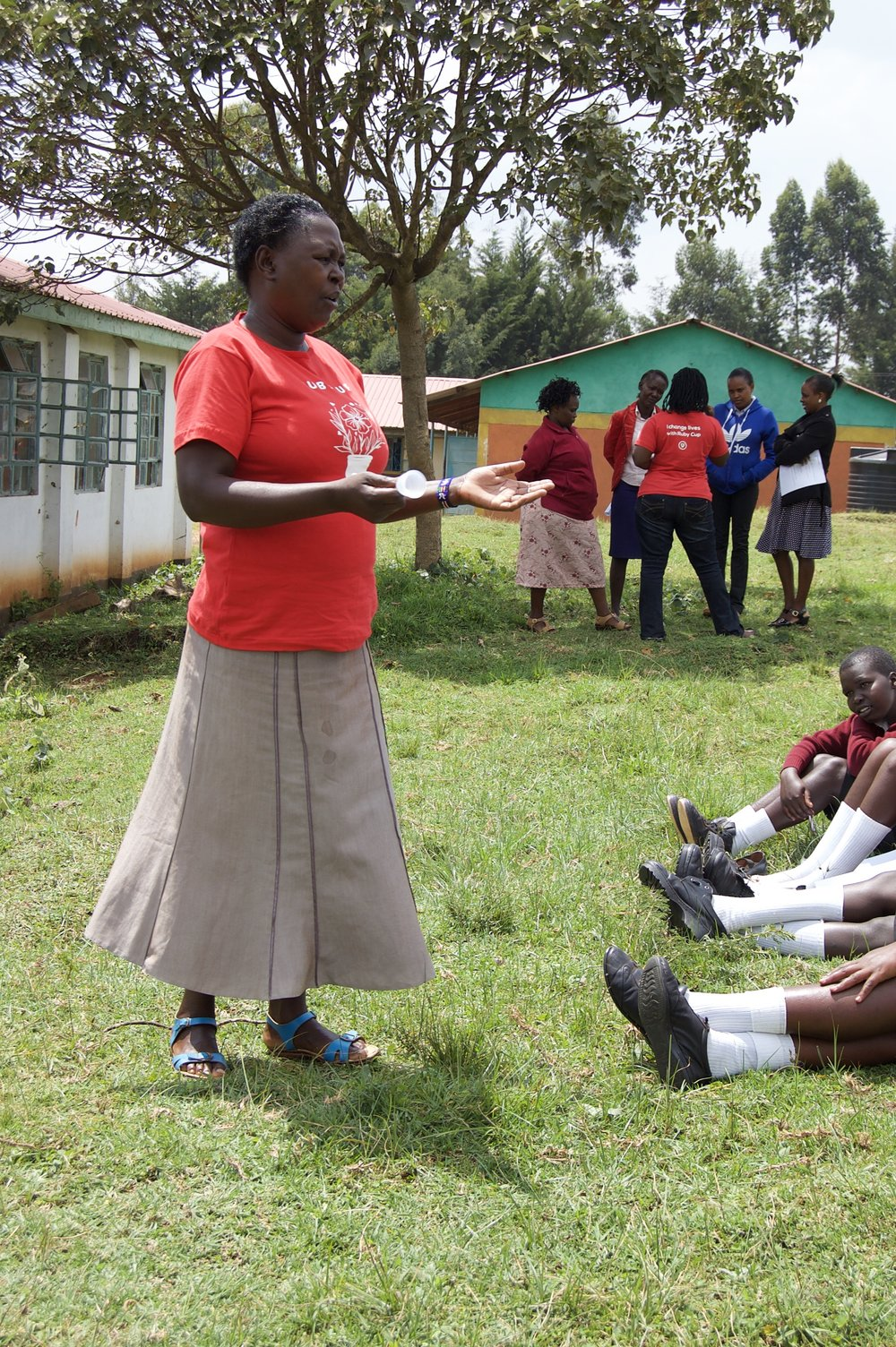 Miriam, a trained mentor from GGF, answers questions of how to use and care for the Ruby Cup.