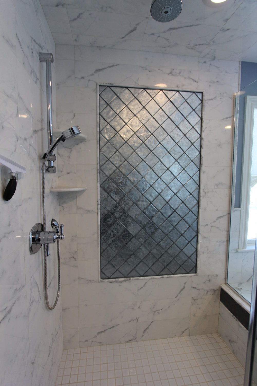 Master Shower with Feature Panel
