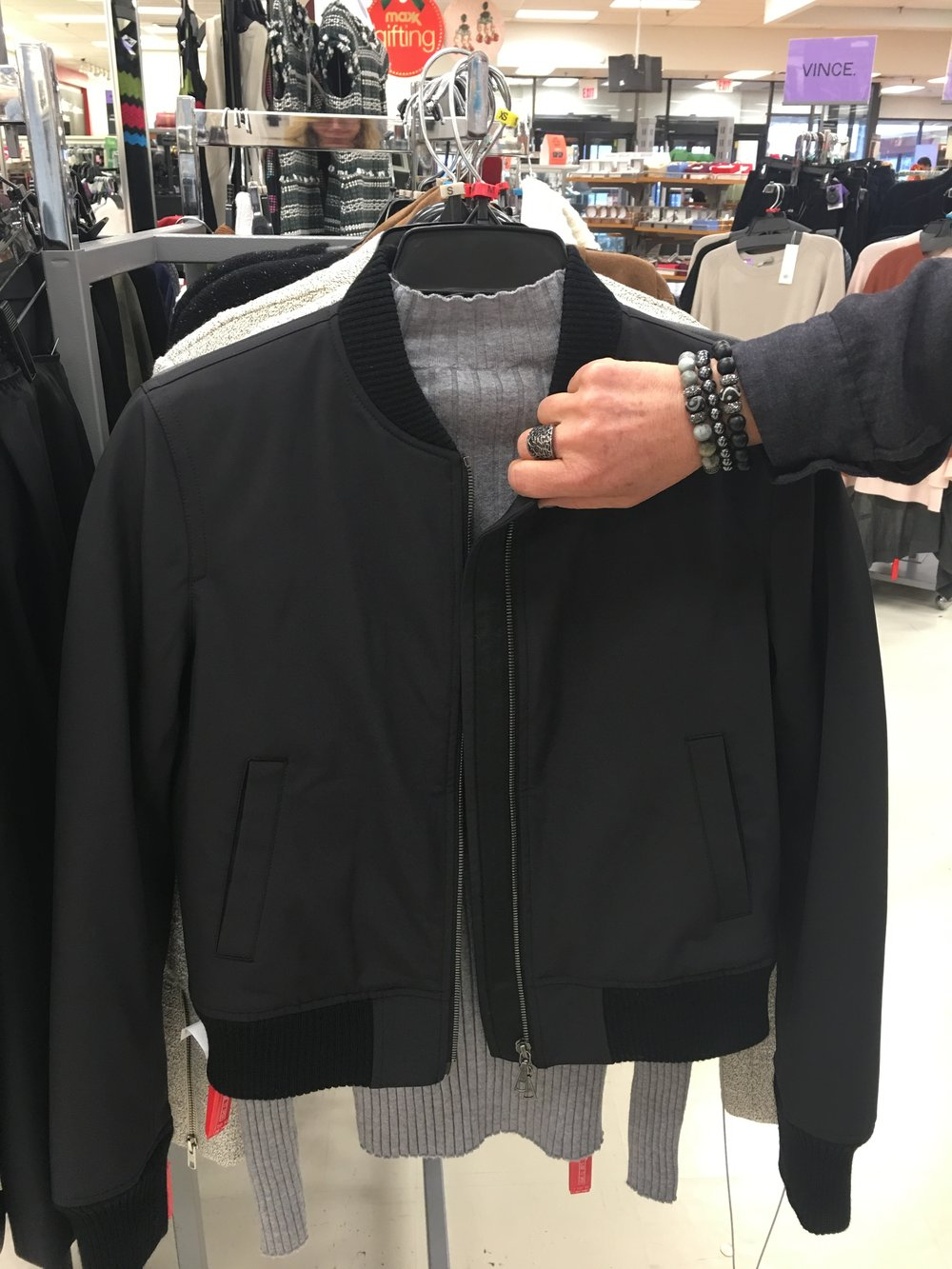 Found this Theory bomber jacket at TJ Maxx - a bargain at $150! Wear over a t-shirt or silky tank. One of our favorite looks this season.