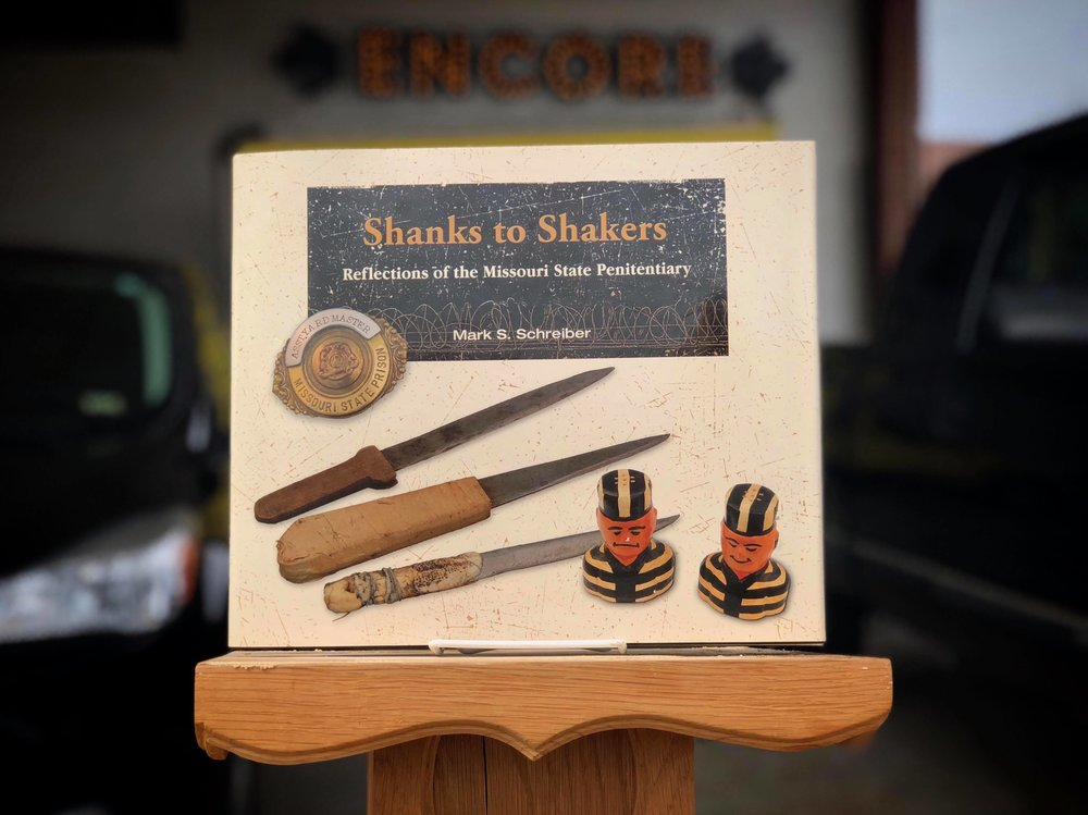 GIVEAWAY -  Leave a comment below about your MSP experience OR your favorite historical site in Jefferson City and be entered to win  Shanks to Shakers Refections of the Missouri State Penitentiary  sponsored by Encore Department Store.
